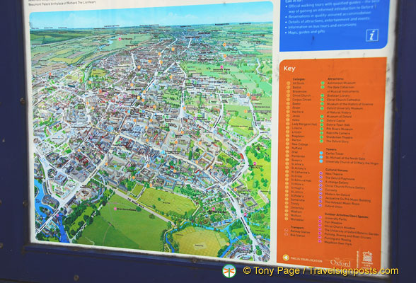 Oxford Map with all the colleges and attractions marked out