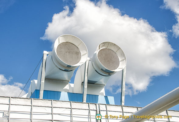 These large white ventilation shafts look like funnels on an ocean liner