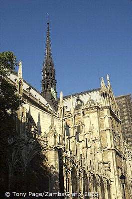 90m high Spire, designed by Viollet-le-Duc