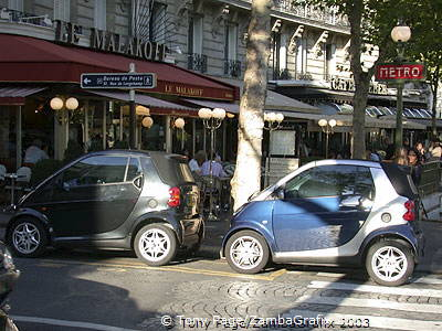 Smart cars abound in Paris.  Tony loves these.