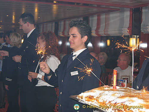 Irene's a little worried about the sparkler