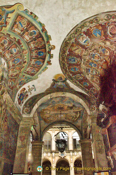Decorated walls and ceiling of the Archiginnasio of Bologna, lower portico