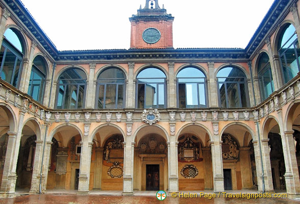 The wing of Archiginnasio of Bologna housing the Anatomical Theatre