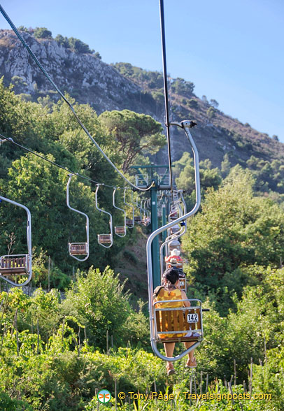 Riding the chairlift to Monte Solaro