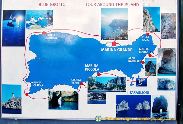 Map of Capri and things to see