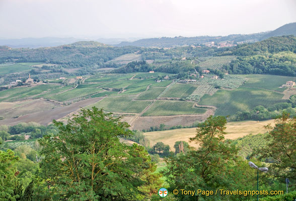 View of hills and valleys around Montepulciano
