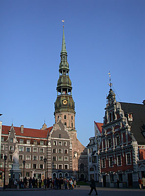 Petera Baznica (St Peter's Church) towers over the Ratslaukums square.