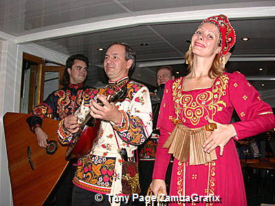 Folk music performance on a Neva River Cruise