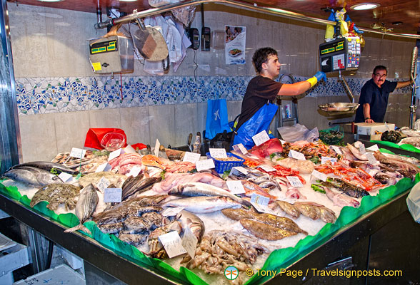 There are over 40 fish stalls at La Boqueria