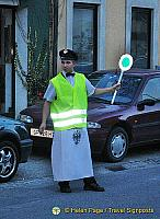 The lolly-pop man stopping traffic