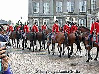 Ceremonial changing of the guards take place in the square at noon