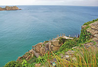 Looking down to the Minack Theatre