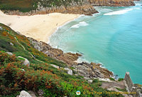 The very beautiful Porthcurno Beach by the Minack Theatre