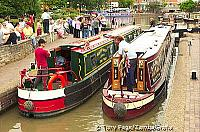 """Narrow boats"" or canal live aboard barges in a loch at Stratford-on-Avon [Stratford-upon-Avon - England]"