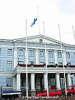 Helsinki Town Hall with its flag at half-mast in memory of the September 11 victims