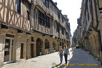 Rue de la Verrerie - A cobbled street in the old merchant's quarter lined with medieval half-timbered houses