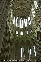 Four bays of Romanesque naves survive.  Three were pulled down in 1776 creating the West Terrace [Mont-St-Michel - France]