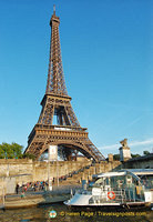 Seine river cruises depart near the base of the Eiffel Tower
