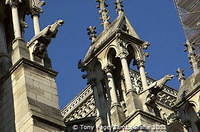 Spires and gargoyles were added in the 19th C. by architect Viollet-le-Duc