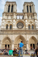 The famous west facade view of Notre-Dame