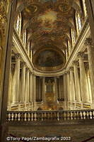 The beautiful interior of the Royal Chapel is decorated with Corinthian columns and white marble