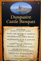 Dunguaire Castle banquet menu