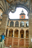 Inner courtyard of the Archiginnasio of Bologna