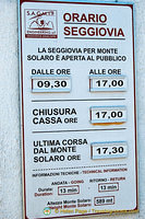 Timetable for Seggiovia to Monte Solaro