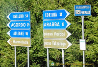 Dolomites travel signpost