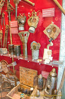 A collection of gas masks and gas bombs