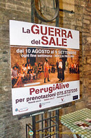 Advertisement for La Guerra del Sale, a play about the Salt War