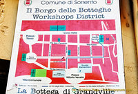 Map of the workshops district in Sorrento