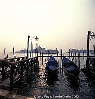 The famous gondolas of Venice