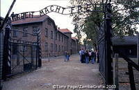 Arbeit macht frei sign at the gate of Auschwitz I camp