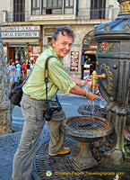Tony filling up on water at the Font de Canaletes